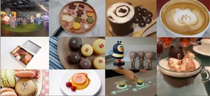 3d立体布朗熊蛋糕,line friends主题刨冰,面包圈和煎饼一边吃,一边