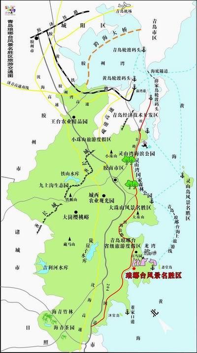 204国道,日东高速公路,青岛滨海公路等主要干道按交通指示到达景区.